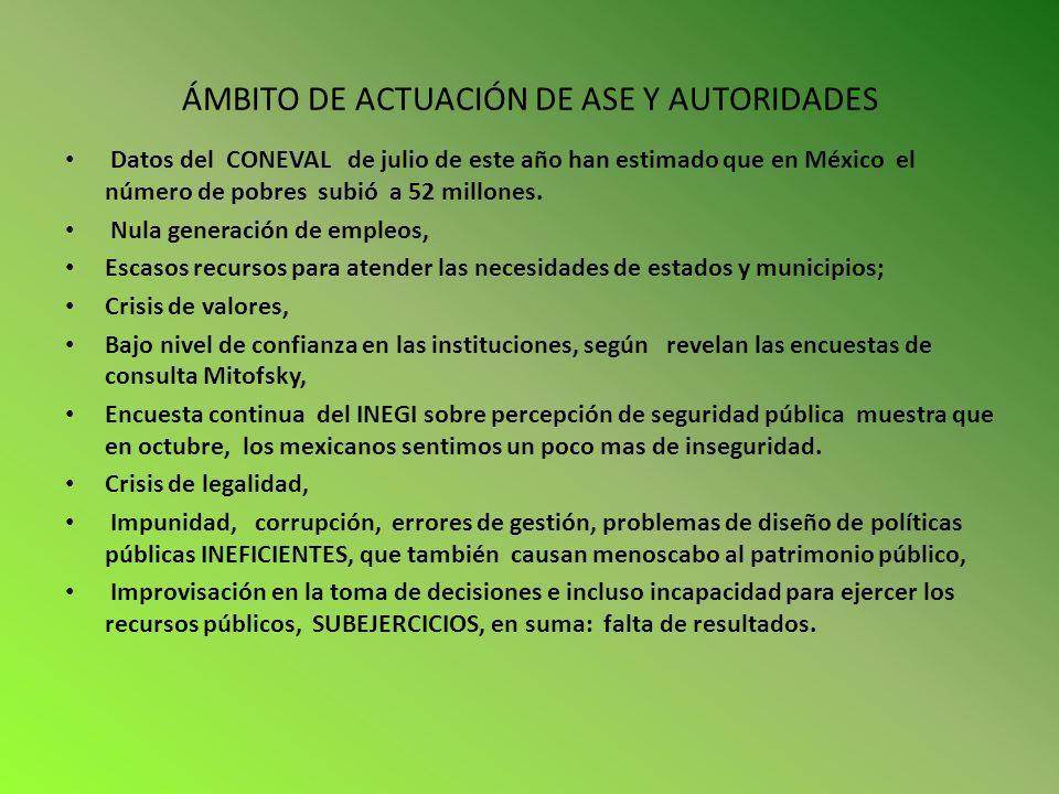 ÁMBITO DE ACTUACIÓN DE ASE Y AUTORIDADES