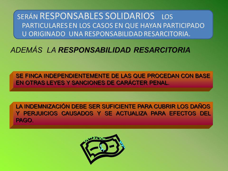 ADEMÁS LA RESPONSABILIDAD RESARCITORIA