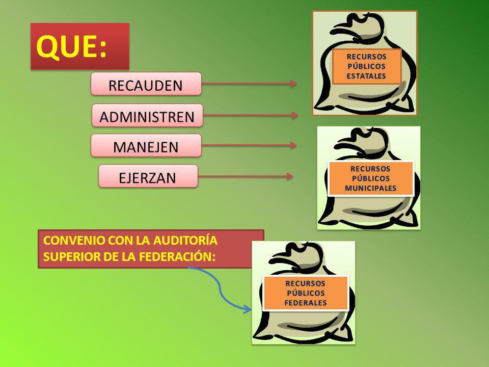 QUE: RECAUDEN ADMINISTREN MANEJEN EJERZAN CONVENIO CON LA AUDITORÍA