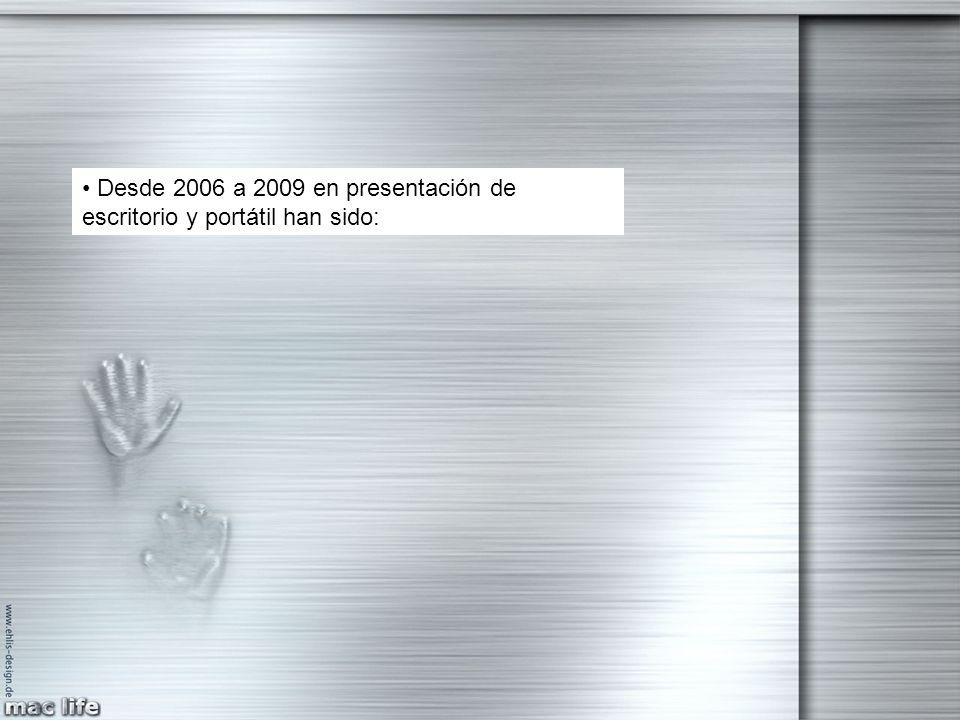 Desde 2006 a 2009 en presentación de escritorio y portátil han sido: