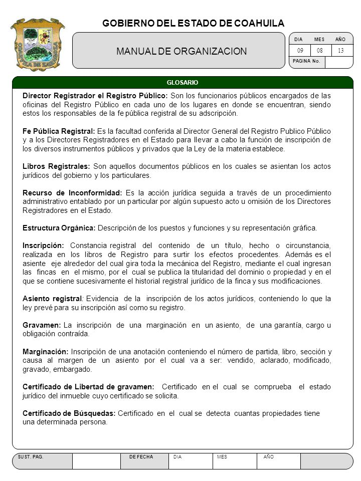 Manual de organizaci n ppt descargar for Oficina del registro de la propiedad