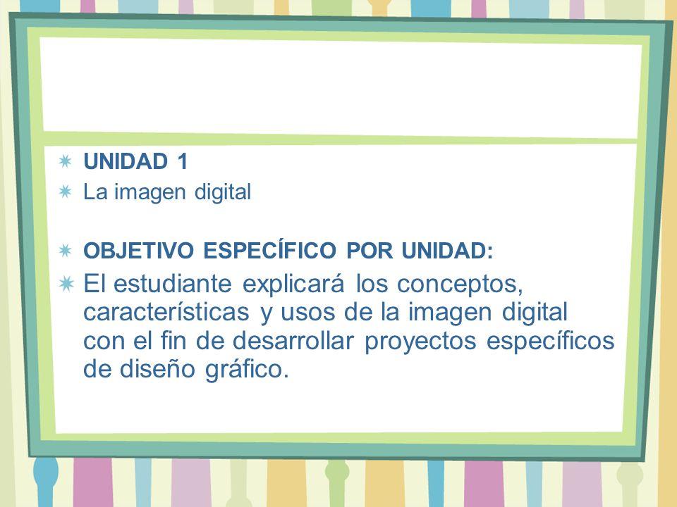 UNIDAD 1 La imagen digital. OBJETIVO ESPECÍFICO POR UNIDAD: