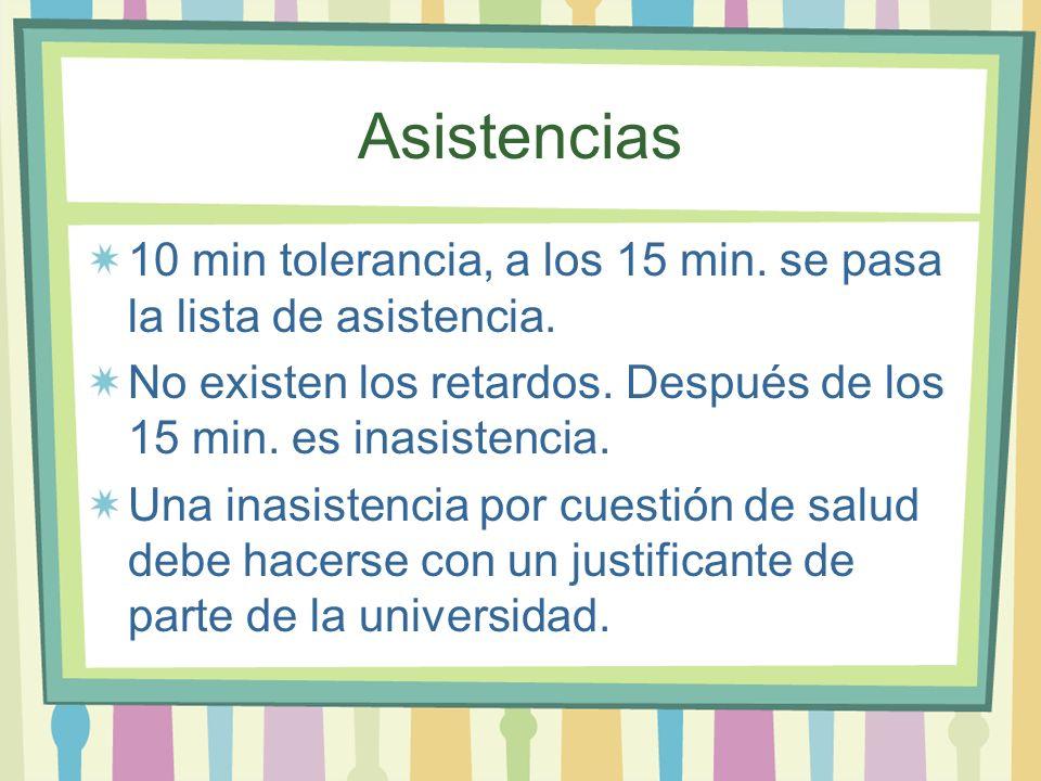Asistencias 10 min tolerancia, a los 15 min. se pasa la lista de asistencia. No existen los retardos. Después de los 15 min. es inasistencia.