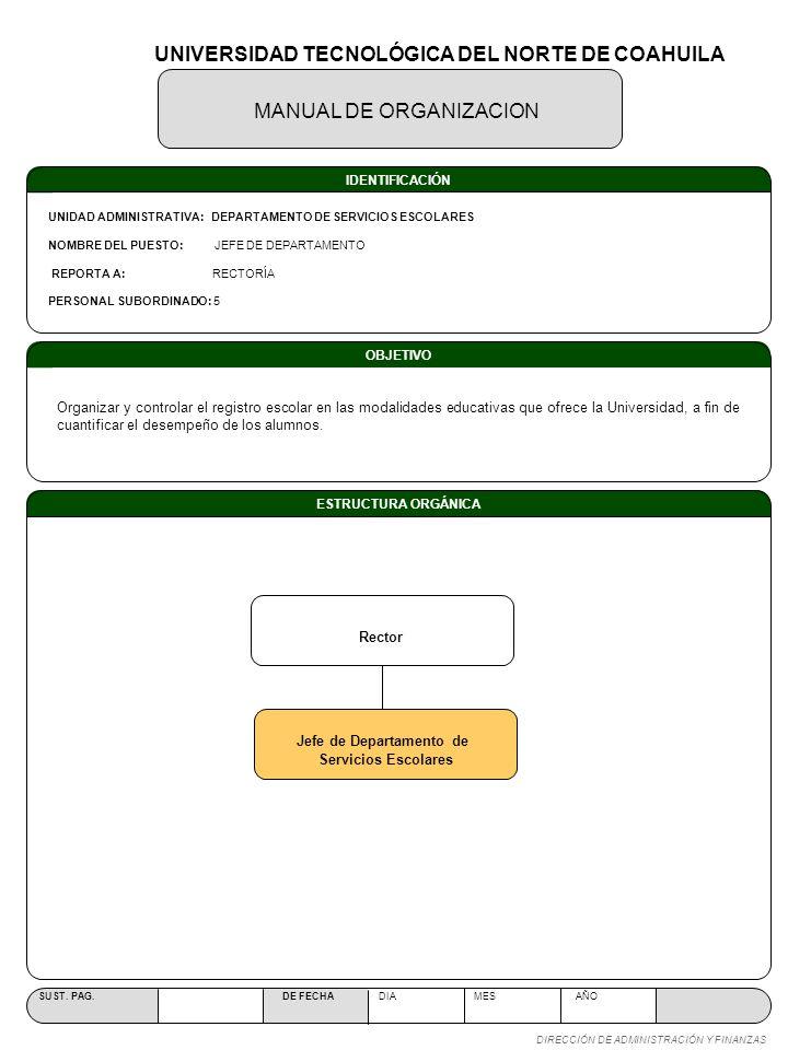 UNIVERSIDAD TECNOLÓGICA DEL NORTE DE COAHUILA Jefe de Departamento de
