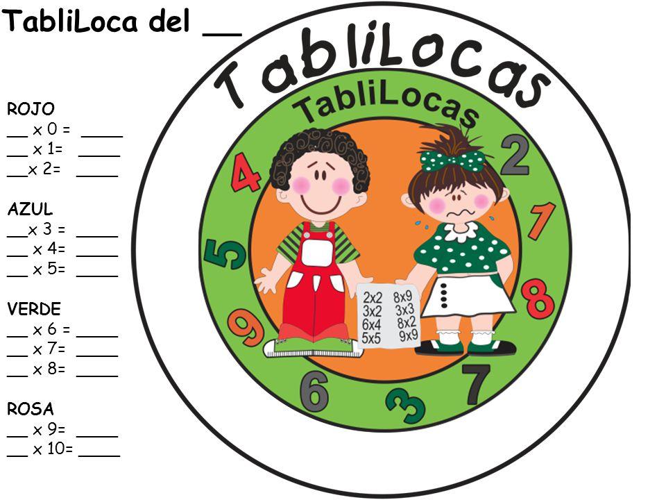 TabliLoca del __ ROJO __ x 0 = ____ __ x 1= ____ __x 2= ____ AZUL