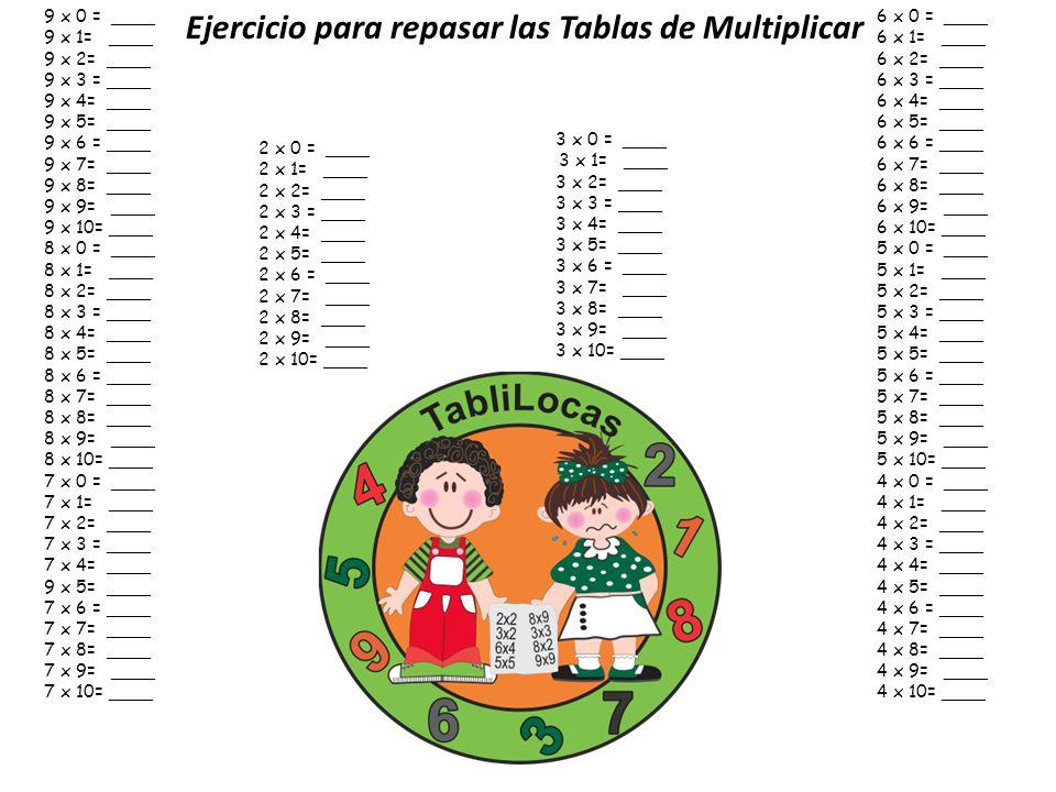 Ejercicio para repasar las Tablas de Multiplicar
