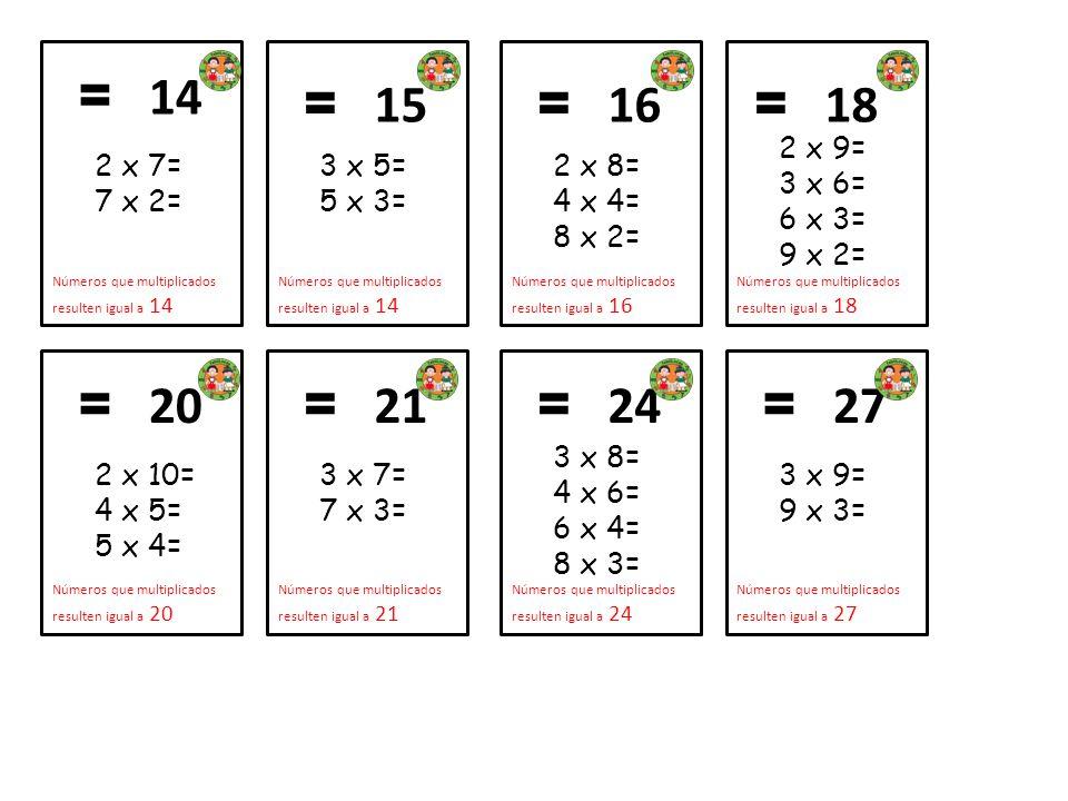 2 x 7= 7 x 2= = 14. Números que multiplicados resulten igual a 14. 3 x 5= 5 x 3= = 15. Números que multiplicados resulten igual a 14.