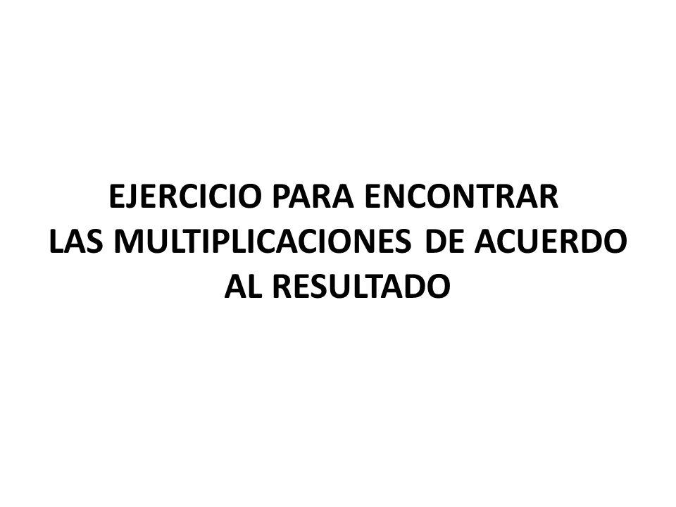 EJERCICIO PARA ENCONTRAR LAS MULTIPLICACIONES DE ACUERDO