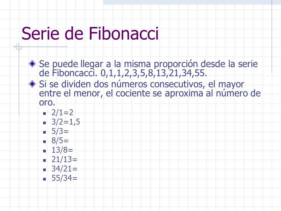 Serie de Fibonacci Se puede llegar a la misma proporción desde la serie de Fiboncacci. 0,1,1,2,3,5,8,13,21,34,55.