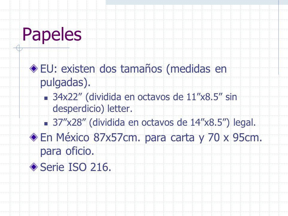 Papeles EU: existen dos tamaños (medidas en pulgadas).