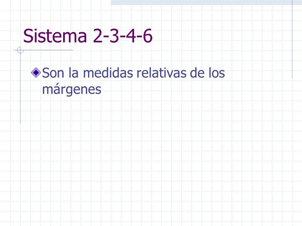 Sistema 2-3-4-6 Son la medidas relativas de los márgenes
