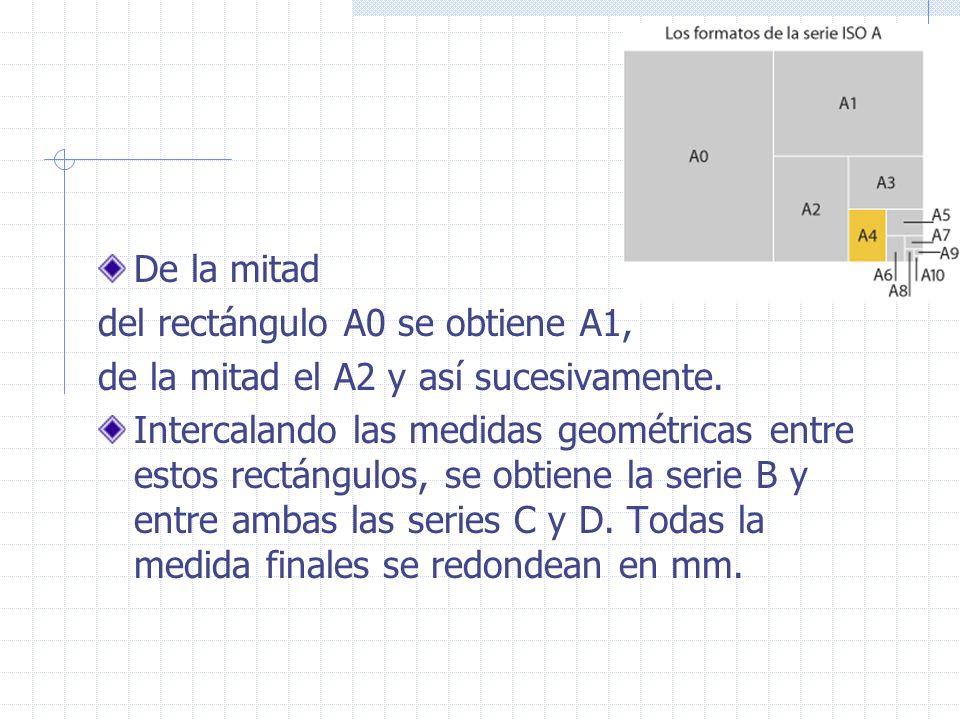 De la mitad del rectángulo A0 se obtiene A1, de la mitad el A2 y así sucesivamente.