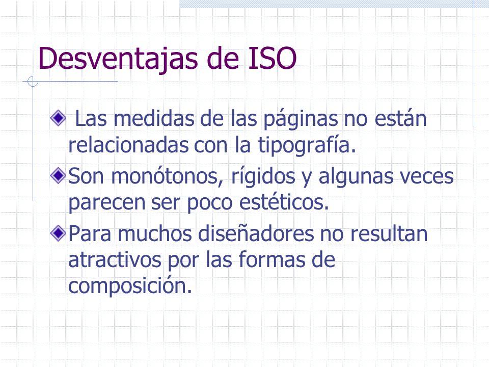 Desventajas de ISO Las medidas de las páginas no están relacionadas con la tipografía.