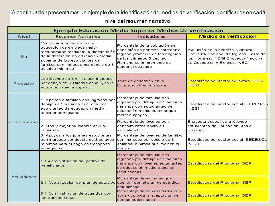 A continuación presentamos un ejemplo de la identificación de medios de verificación identificados en cada nivel del resumen narrativo.