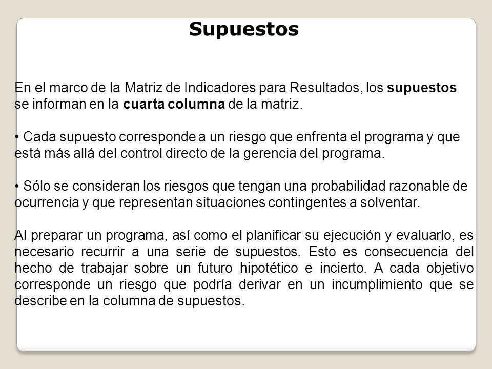 Supuestos En el marco de la Matriz de Indicadores para Resultados, los supuestos se informan en la cuarta columna de la matriz.
