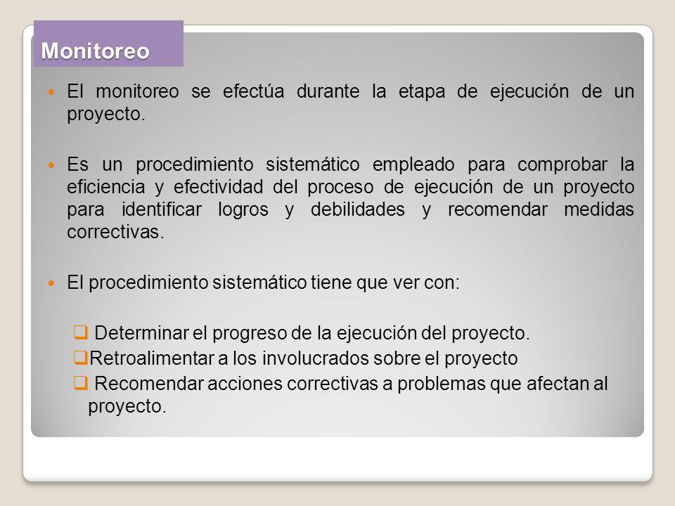 Monitoreo El monitoreo se efectúa durante la etapa de ejecución de un proyecto.