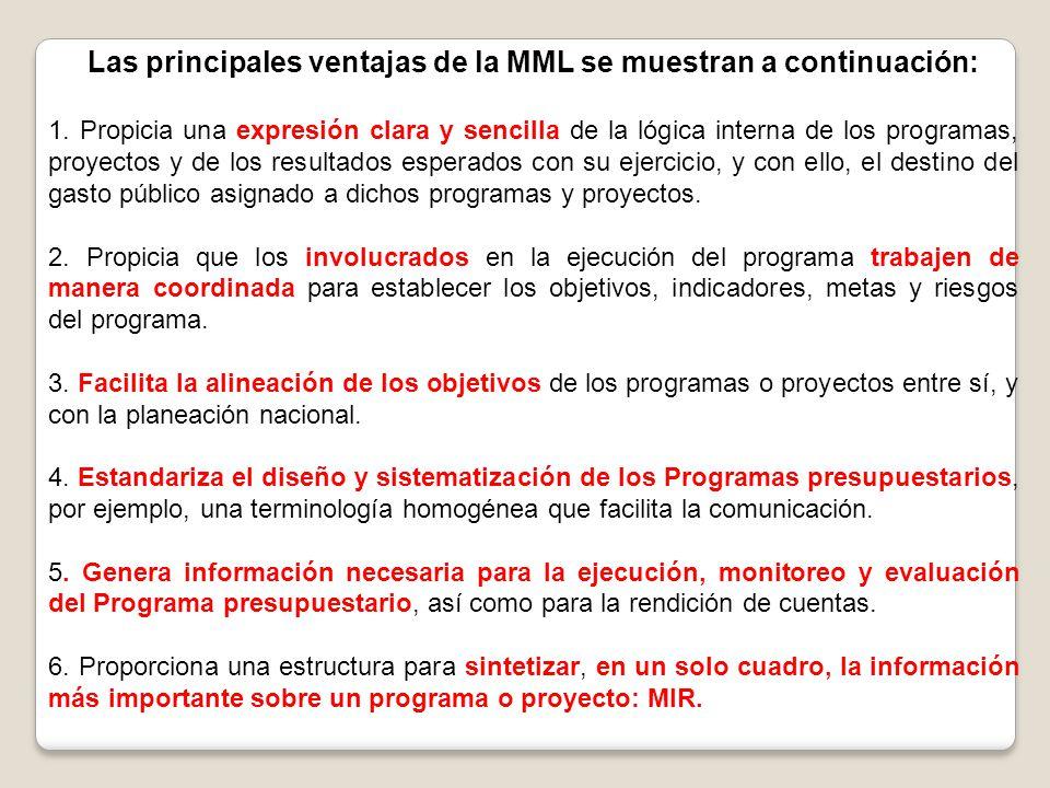 Las principales ventajas de la MML se muestran a continuación: