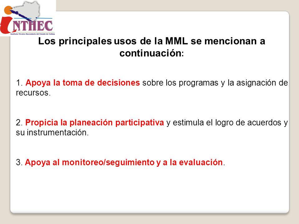 Los principales usos de la MML se mencionan a continuación: