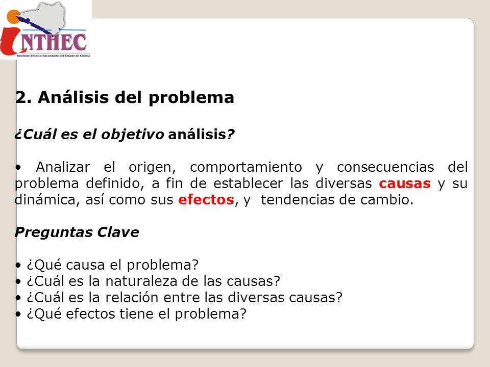 2. Análisis del problema ¿Cuál es el objetivo análisis