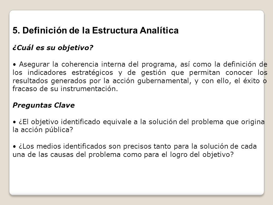 5. Definición de la Estructura Analítica