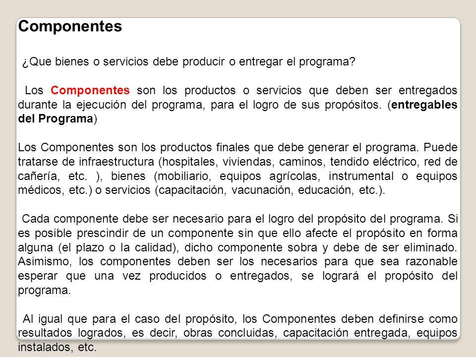 Componentes ¿Que bienes o servicios debe producir o entregar el programa