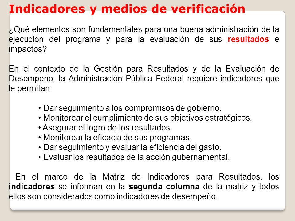 Indicadores y medios de verificación
