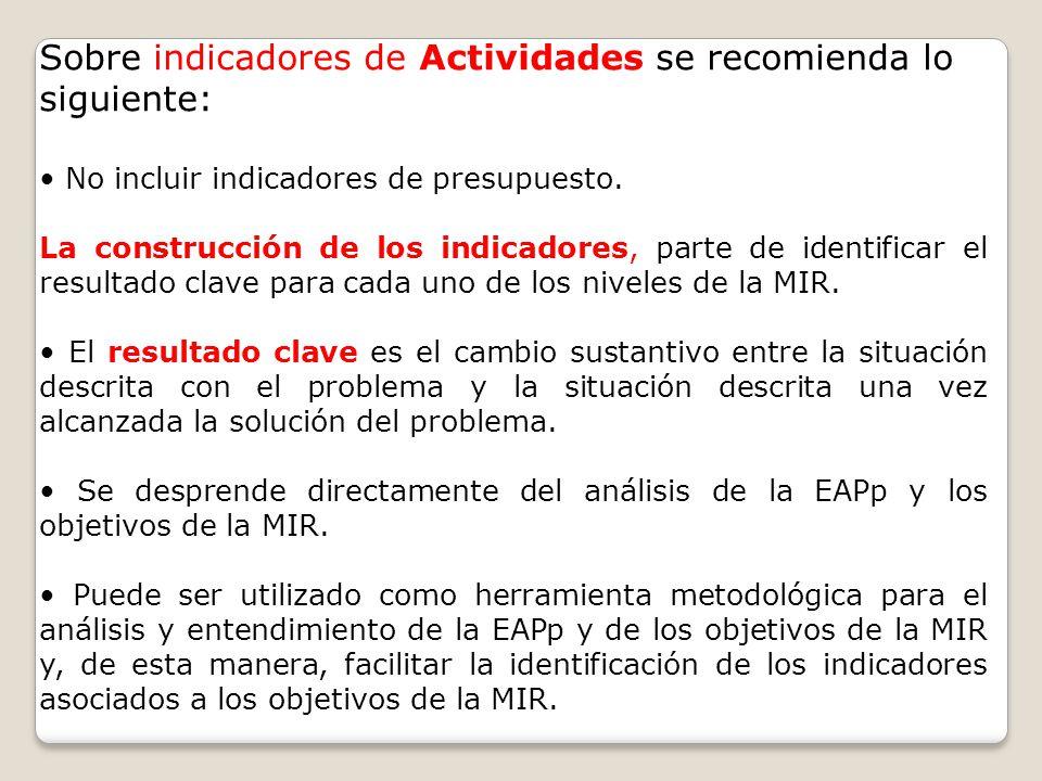 Sobre indicadores de Actividades se recomienda lo siguiente: