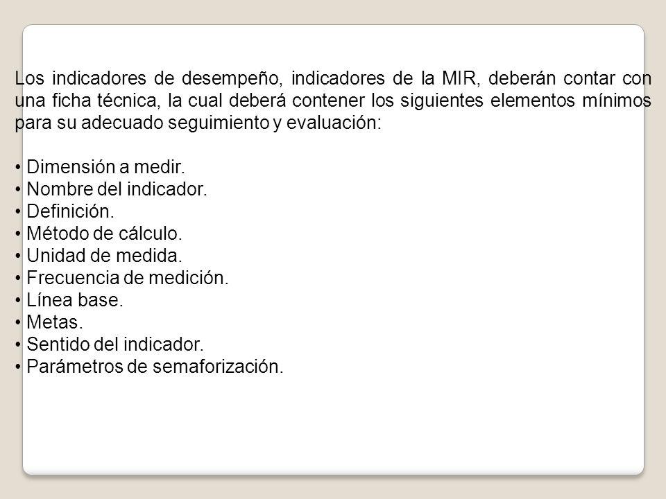 Los indicadores de desempeño, indicadores de la MIR, deberán contar con una ficha técnica, la cual deberá contener los siguientes elementos mínimos para su adecuado seguimiento y evaluación: