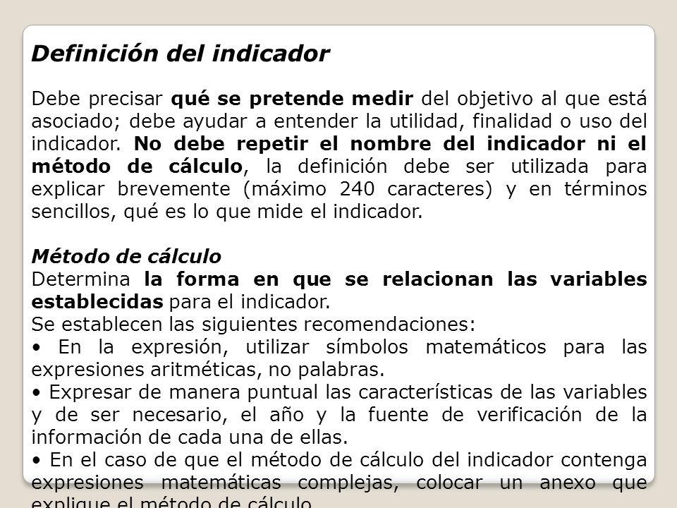 Definición del indicador