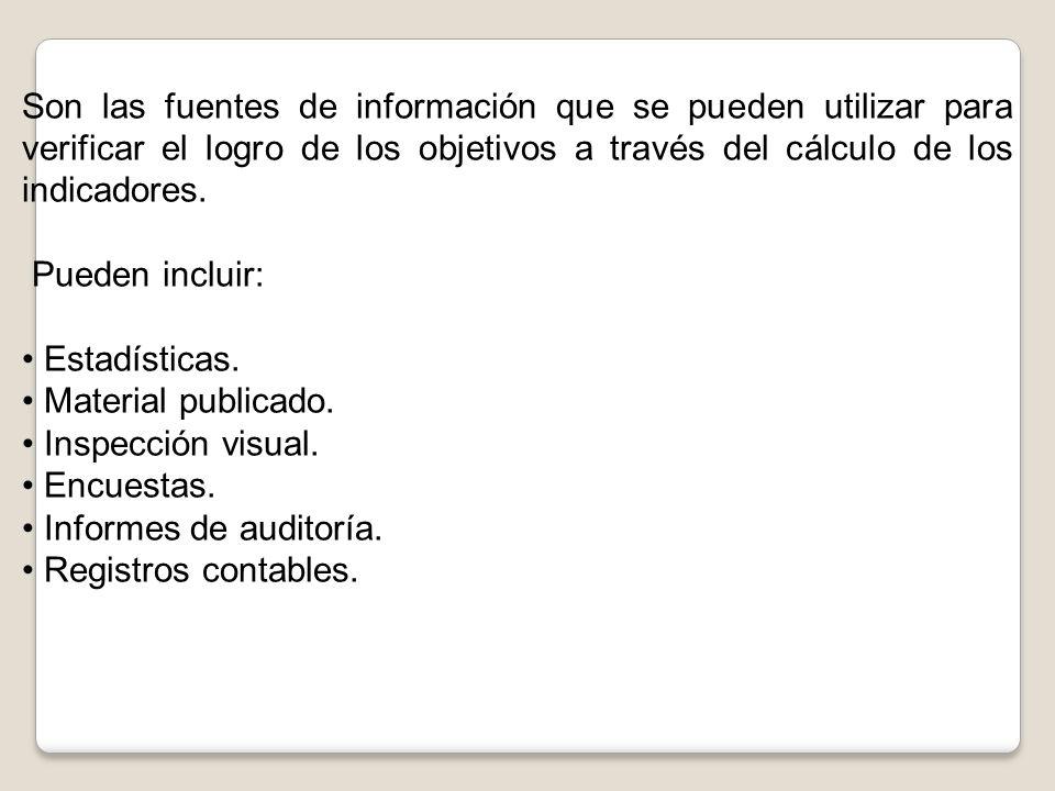 Son las fuentes de información que se pueden utilizar para verificar el logro de los objetivos a través del cálculo de los indicadores.