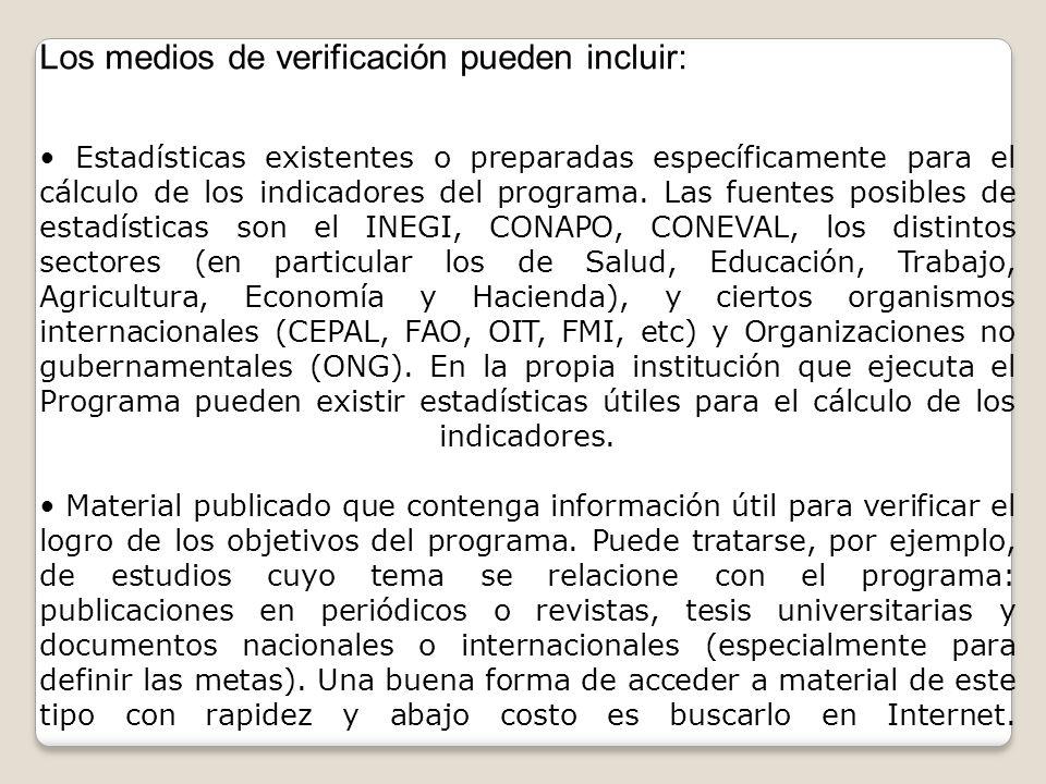Los medios de verificación pueden incluir: