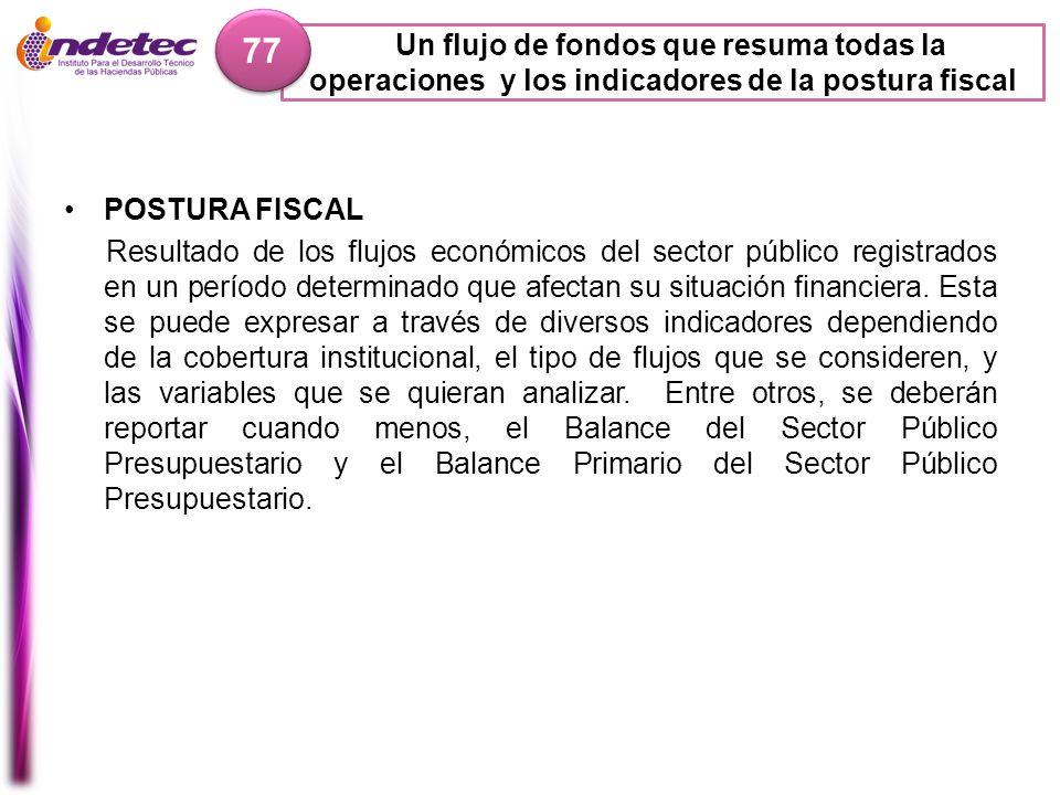 77 Un flujo de fondos que resuma todas la operaciones y los indicadores de la postura fiscal. POSTURA FISCAL.