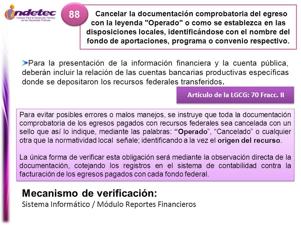 Artículo de la LGCG: 70 Fracc. II