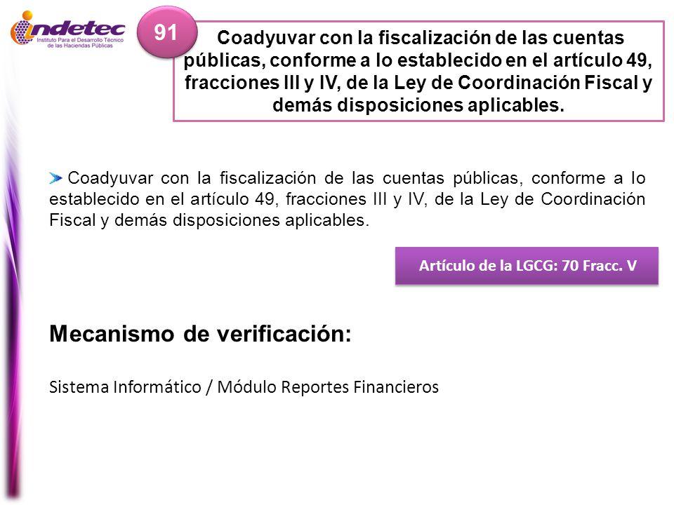 Artículo de la LGCG: 70 Fracc. V