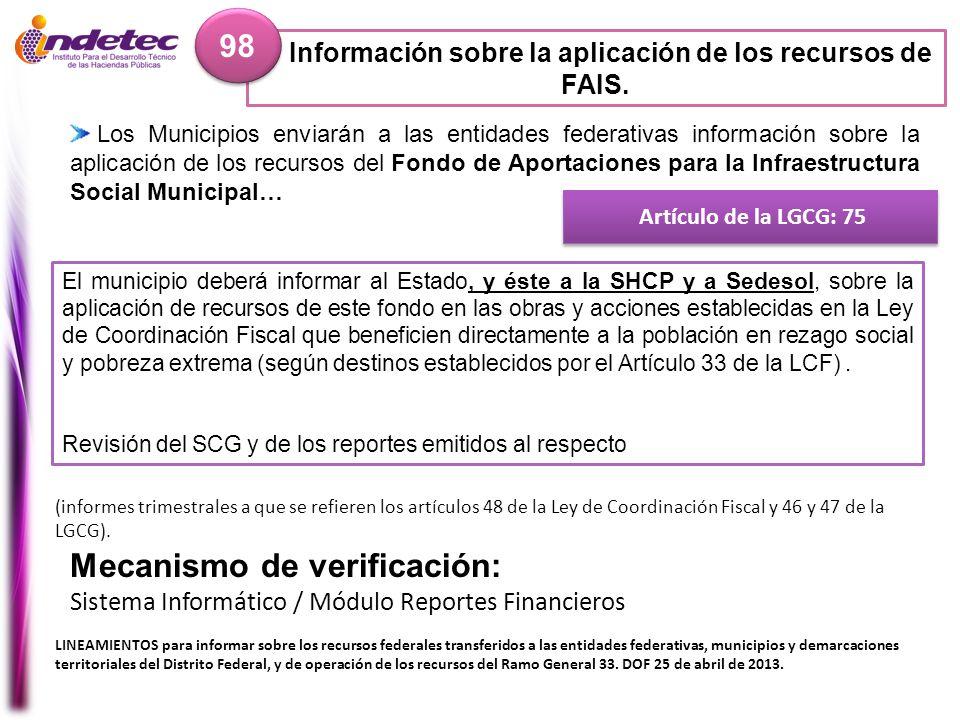 Información sobre la aplicación de los recursos de FAIS.