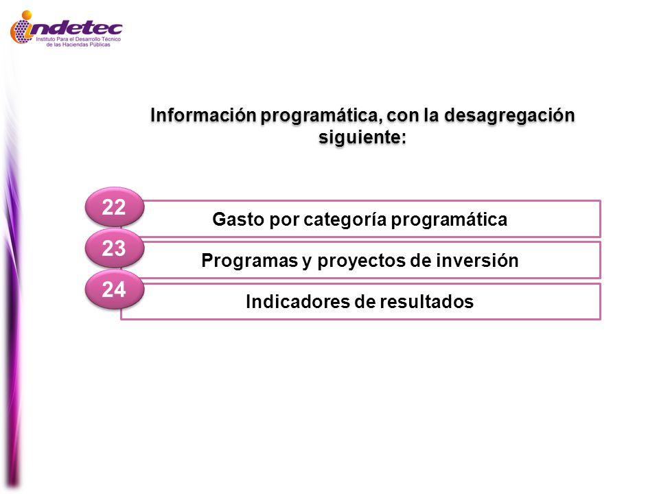 22 23 24 Información programática, con la desagregación siguiente: