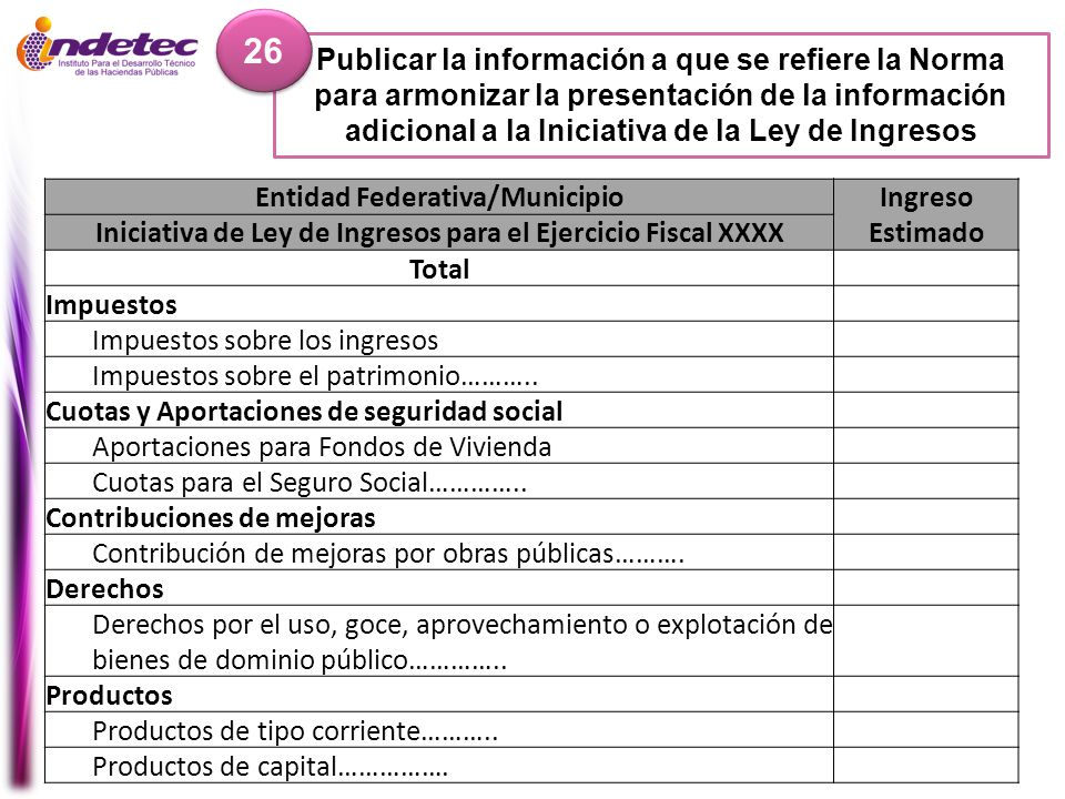 26 Publicar la información a que se refiere la Norma para armonizar la presentación de la información adicional a la Iniciativa de la Ley de Ingresos.