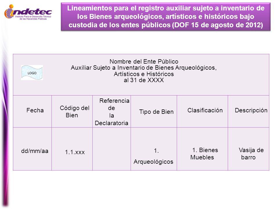 Lineamientos para el registro auxiliar sujeto a inventario de los Bienes arqueológicos, artísticos e históricos bajo custodia de los entes públicos (DOF 15 de agosto de 2012)