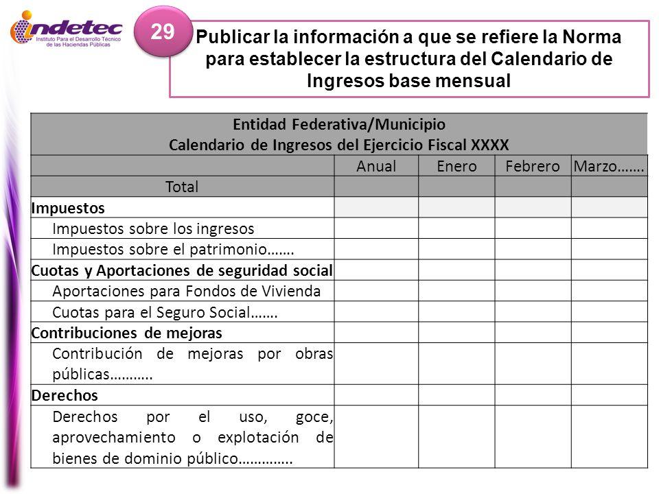 29 Publicar la información a que se refiere la Norma para establecer la estructura del Calendario de Ingresos base mensual.