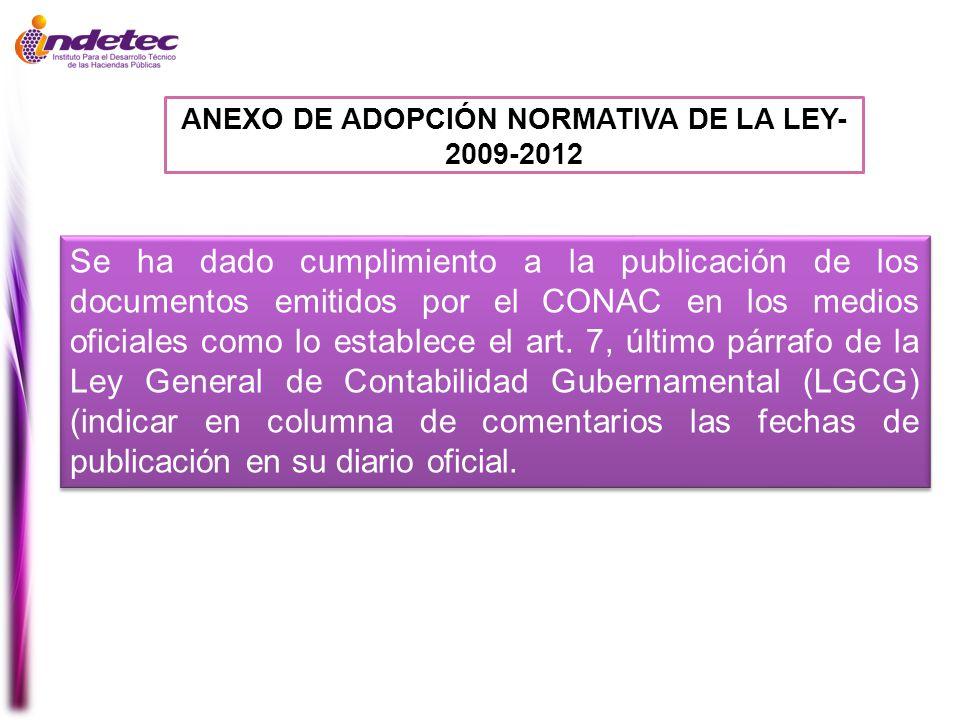 ANEXO DE ADOPCIÓN NORMATIVA DE LA LEY- 2009-2012
