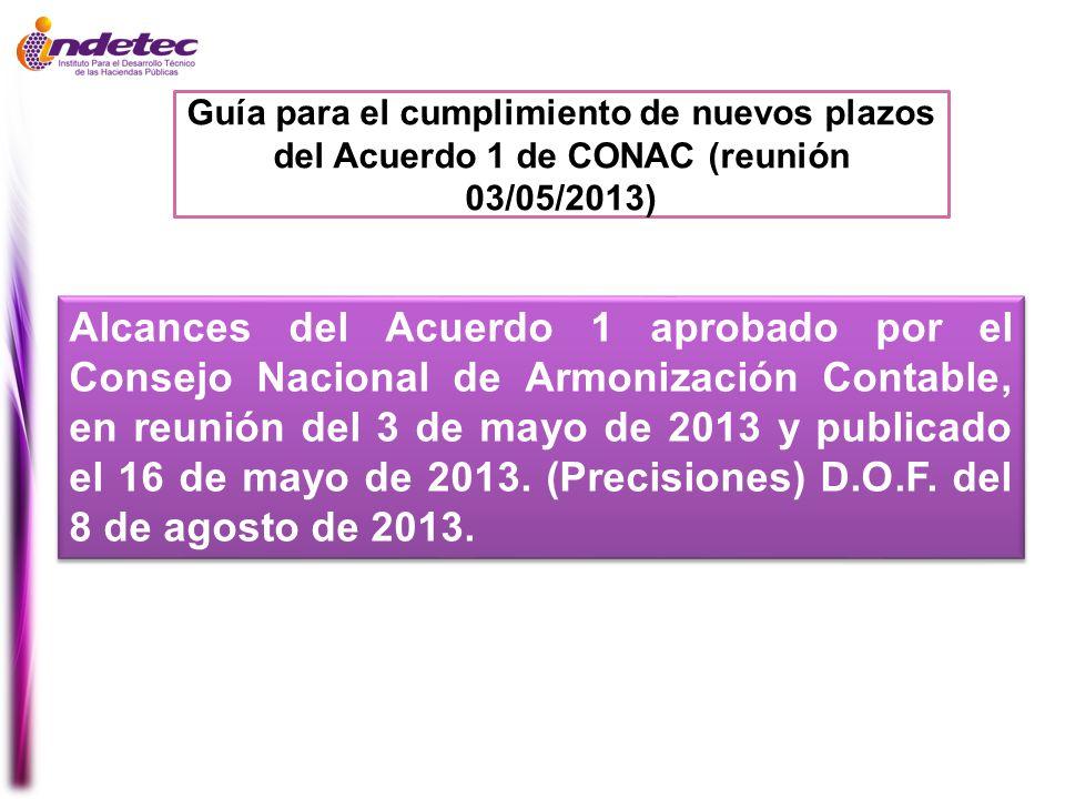 Guía para el cumplimiento de nuevos plazos del Acuerdo 1 de CONAC (reunión 03/05/2013)