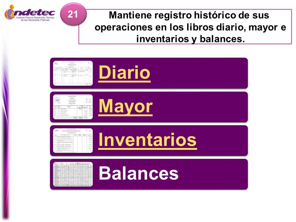 21 Mantiene registro histórico de sus operaciones en los libros diario, mayor e inventarios y balances.