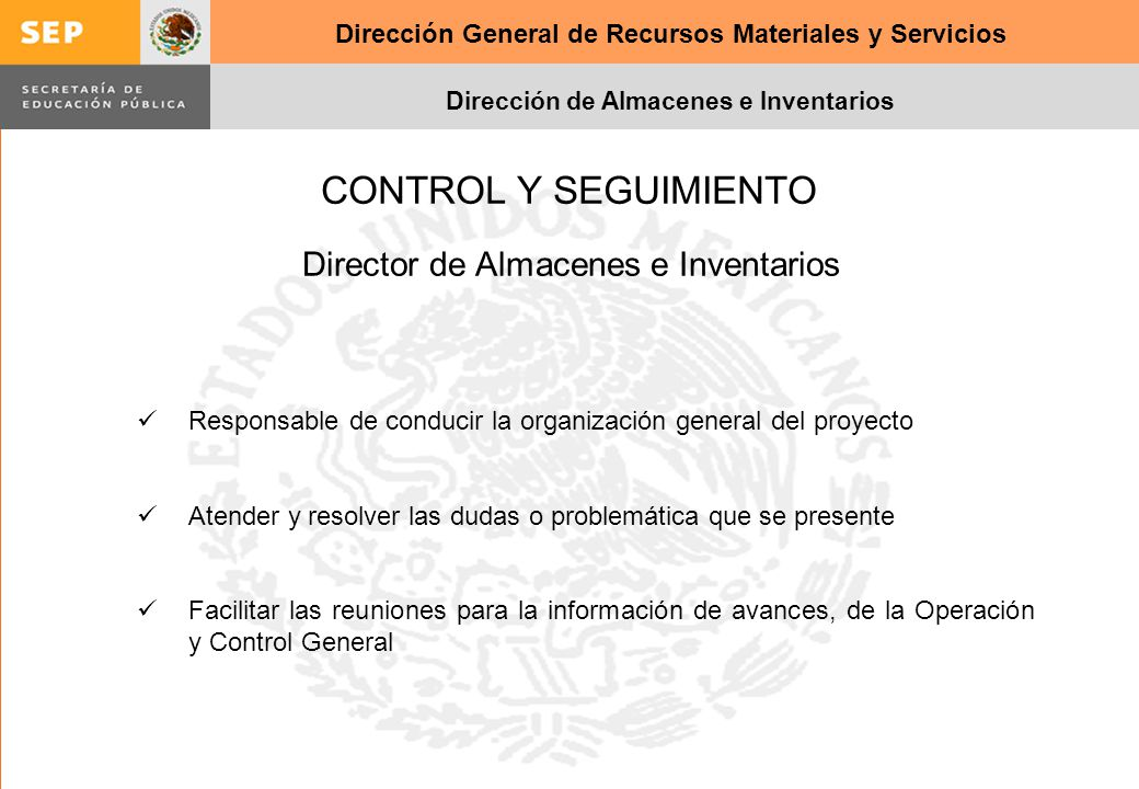 Director de Almacenes e Inventarios