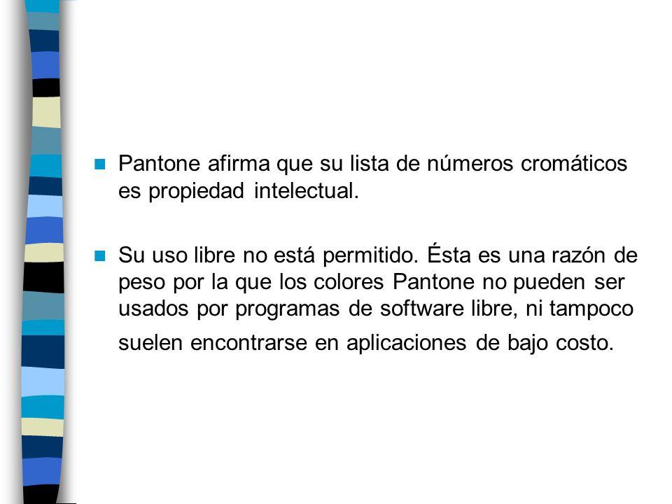 Pantone afirma que su lista de números cromáticos es propiedad intelectual.