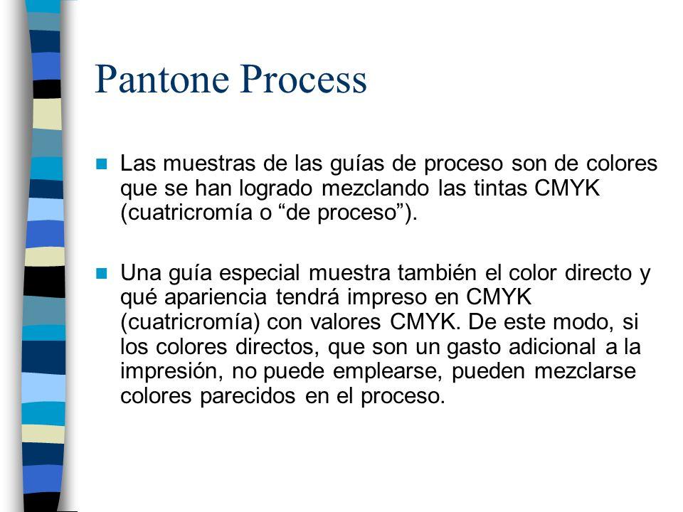 Pantone ProcessLas muestras de las guías de proceso son de colores que se han logrado mezclando las tintas CMYK (cuatricromía o de proceso ).
