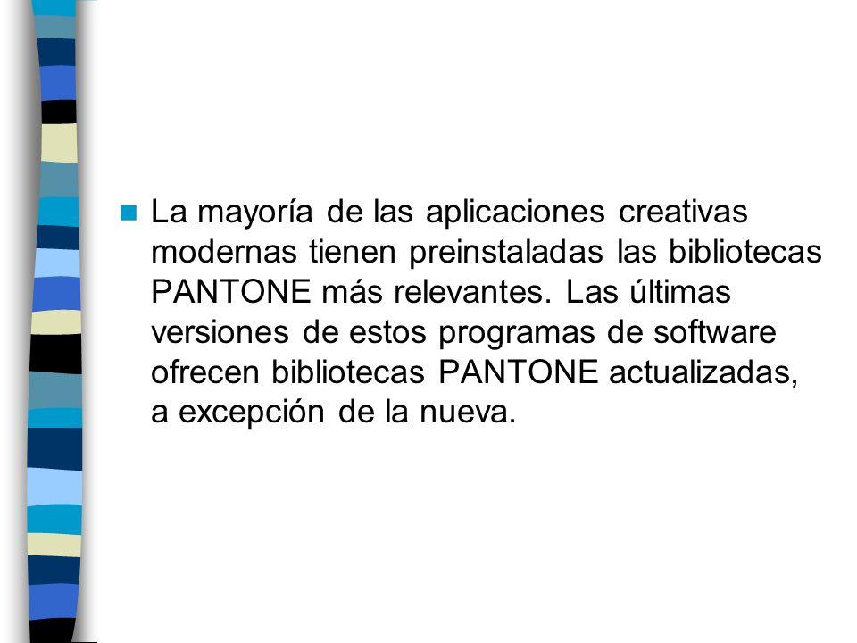 La mayoría de las aplicaciones creativas modernas tienen preinstaladas las bibliotecas PANTONE más relevantes.