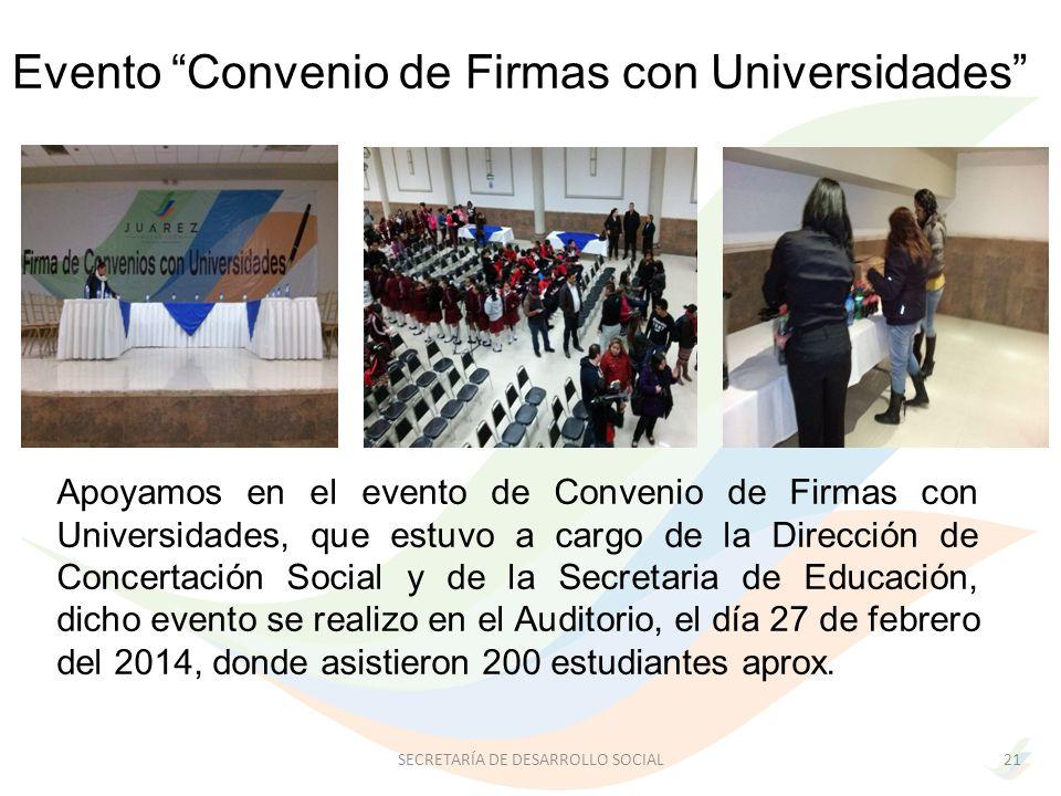Evento Convenio de Firmas con Universidades