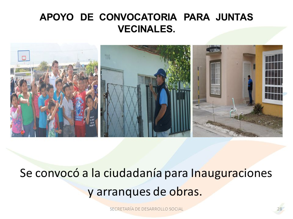 APOYO DE CONVOCATORIA PARA JUNTAS VECINALES.