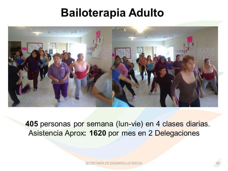 Bailoterapia Adulto 405 personas por semana (lun-vie) en 4 clases diarias. Asistencia Aprox: 1620 por mes en 2 Delegaciones.