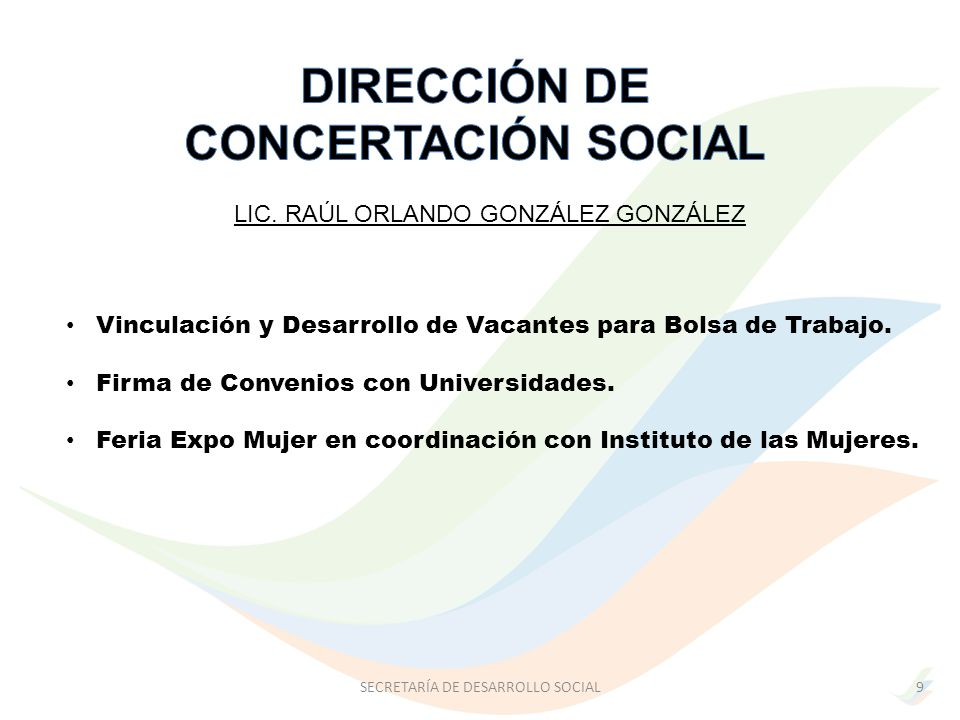 DIRECCIÓN DE CONCERTACIÓN SOCIAL